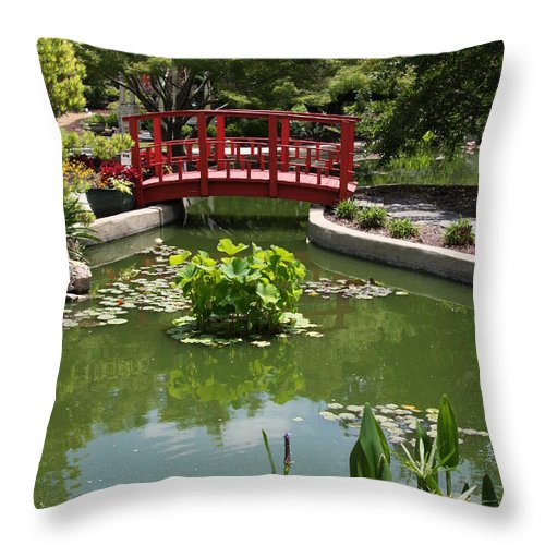 Bridge Throw Pillow featuring the photograph Little Red Bridge by Christiane Schulze Art And Photography