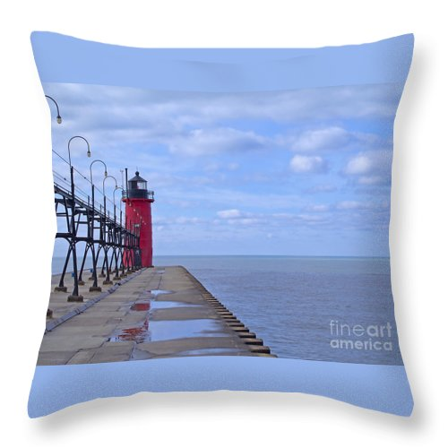 Lighthouse Throw Pillow featuring the photograph Little Red Light by Ann Horn