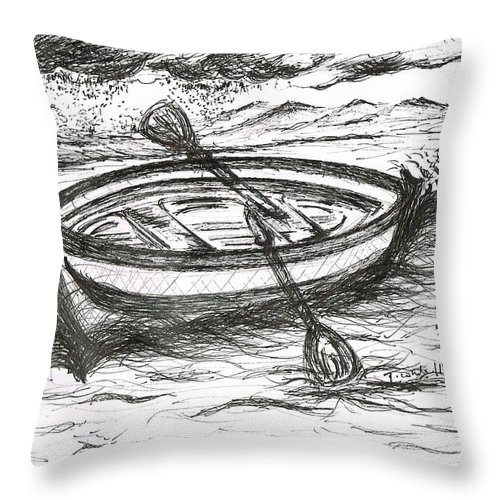 Teresa White Throw Pillow featuring the drawing Little Rowing Boat by Teresa White