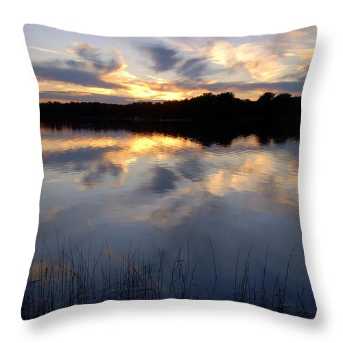 Sunsets Throw Pillow featuring the photograph Little Silver Lake Sunset by Terri Waselchuk