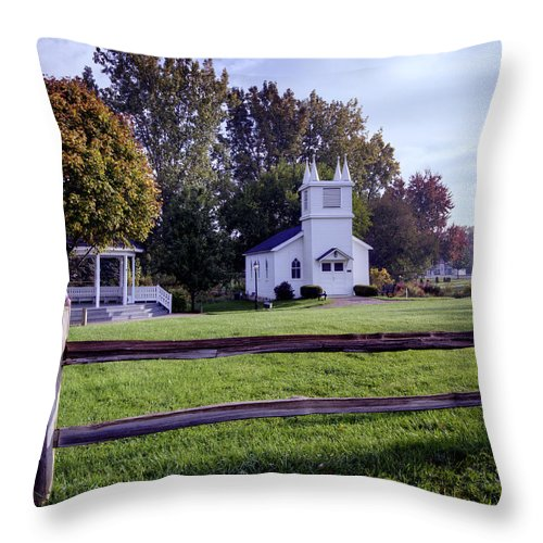 Immanuel Lutheran Church Throw Pillow featuring the photograph Little Village Chapel Of The Immanuel Lutheran Church by Paul Cannon