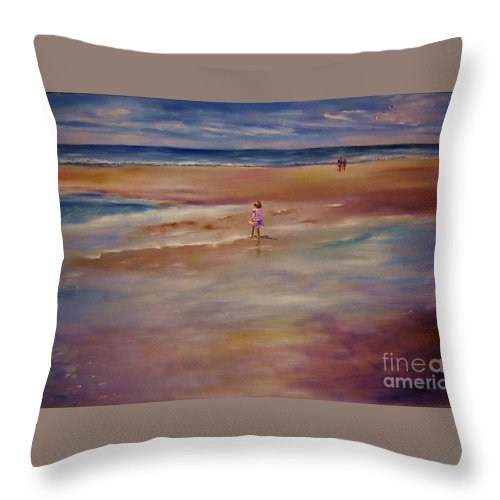 Child Throw Pillow featuring the painting Little Wanderer by Sandy Ryan