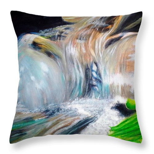 Water Throw Pillow featuring the painting Little Waterfall by Ashley Casterline