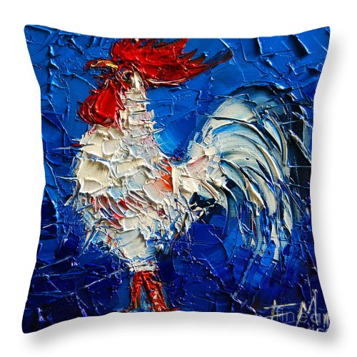 Little White Rooster Throw Pillow featuring the painting Little White Rooster by Mona Edulesco