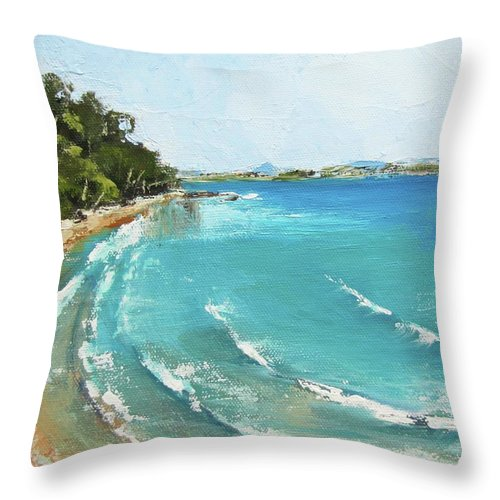 Seascape Throw Pillow featuring the painting Litttle Cove Beach Noosa Heads Queensland Australia by Chris Hobel
