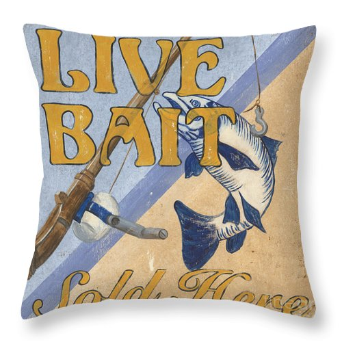 Live Throw Pillow featuring the painting Live Bait by Debbie DeWitt