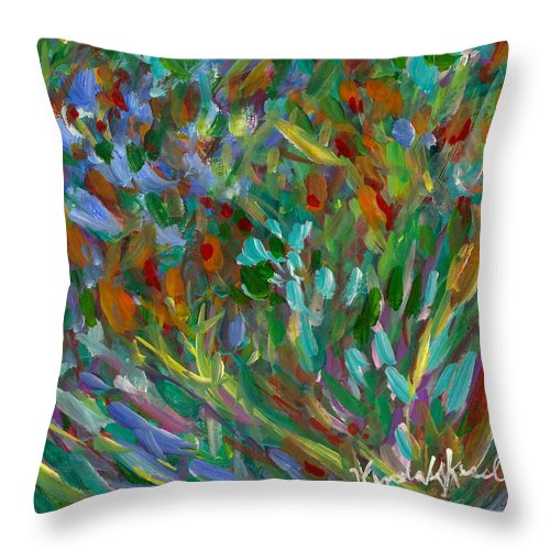 Abstract Throw Pillow featuring the painting Lively by Kendall Kessler