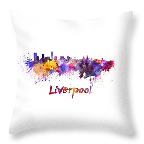 Liverpool Throw Pillow featuring the painting Liverpool Skyline In Watercolor by Pablo Romero