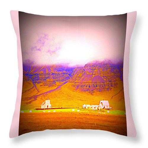 Mountains Throw Pillow featuring the photograph We Are Living Hillside As We Used To Do, Feeling Safe by Hilde Widerberg