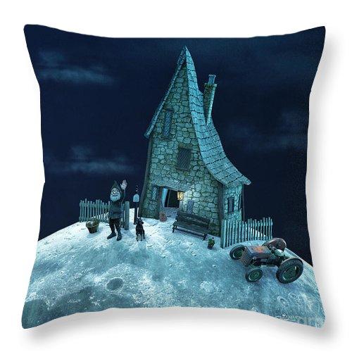 3d Throw Pillow featuring the digital art Living On The Moon by Jutta Maria Pusl