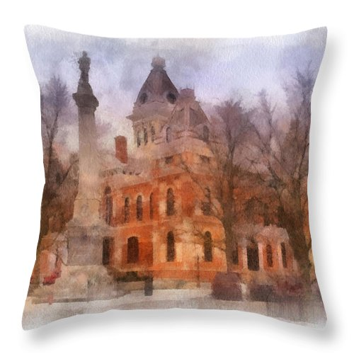 Livingston County Throw Pillow featuring the photograph Livingston County War Memorial 01 Photo Art by Thomas Woolworth