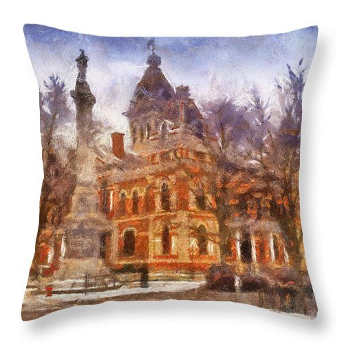 Livingston County Throw Pillow featuring the photograph Livingston County War Memorial 02 Photo Art by Thomas Woolworth