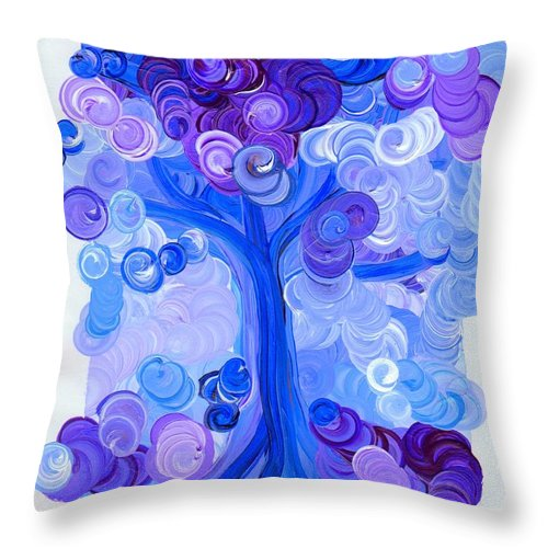First Star Throw Pillow featuring the painting Liz Dixon's Tree Blue by First Star Art