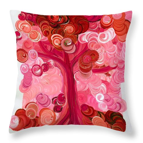 First Star Throw Pillow featuring the painting Liz Dixon's Tree Red by First Star Art