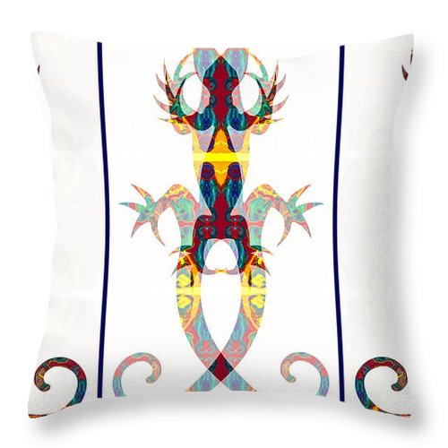 16x9 Throw Pillow featuring the digital art Lizard Love An Abstract Reptilian Adventure by Omaste Witkowski