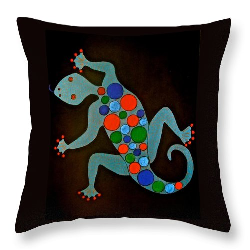 Lizard Throw Pillow featuring the painting Lizard by Stephanie Moore
