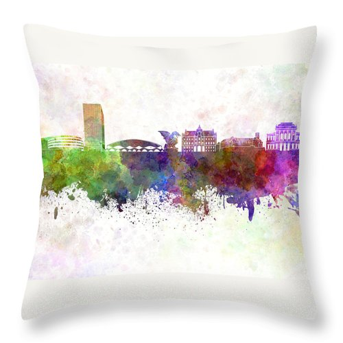Ljubljana Skyline Throw Pillow featuring the painting Ljubljana Skyline In Watercolor Background by Pablo Romero
