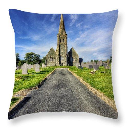Church Throw Pillow featuring the photograph Llandinorwig Church by Ian Mitchell