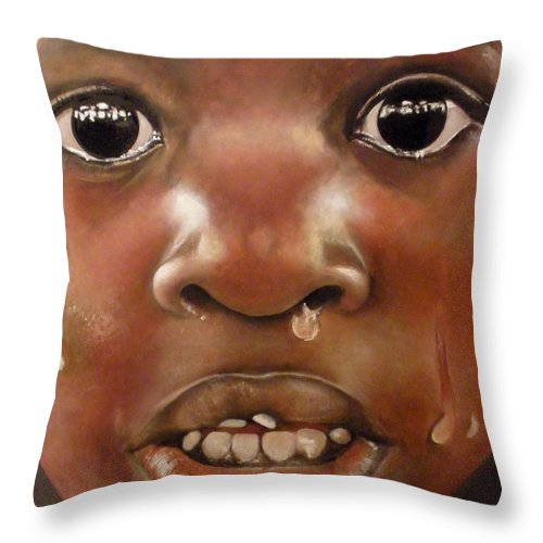 Boy Crying Throw Pillow featuring the painting Llanto by Tomas Castano