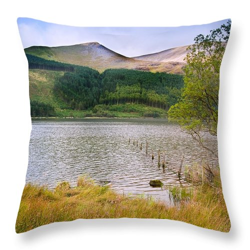 Landscape Throw Pillow featuring the photograph Llyn Cwellyn In Snowdonia National Park Towards M by Matthew Gibson