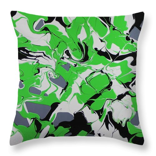 Lime Green Throw Pillow featuring the painting Lime Verve by Madeleine Arnett