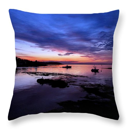 Bailey Island Throw Pillow featuring the photograph Lobster Boat Sunrise by Donnie Freeman