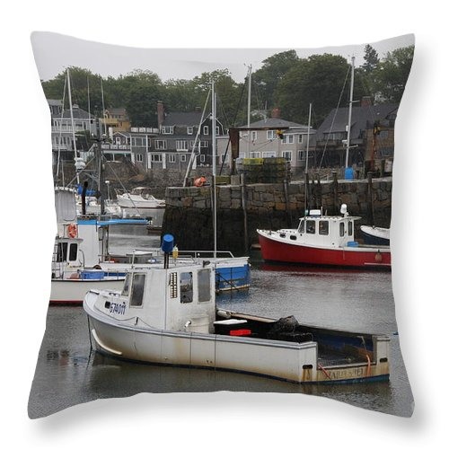 Harbor Throw Pillow featuring the photograph Lobster Fleet Rockport Harbor by Christiane Schulze Art And Photography