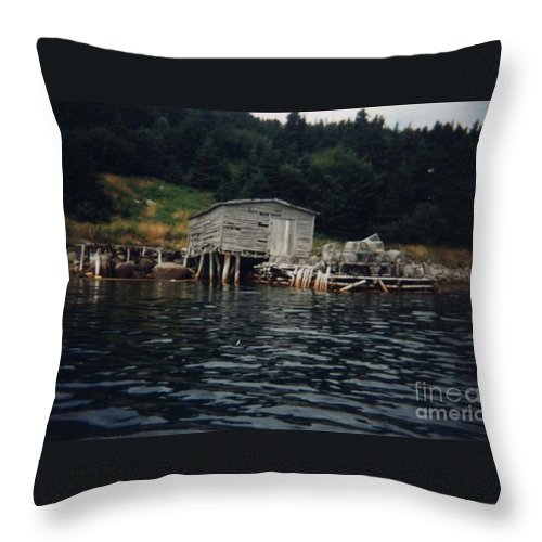 Stage Throw Pillow featuring the photograph Lobster Pots And Old Stage by Barbara Griffin
