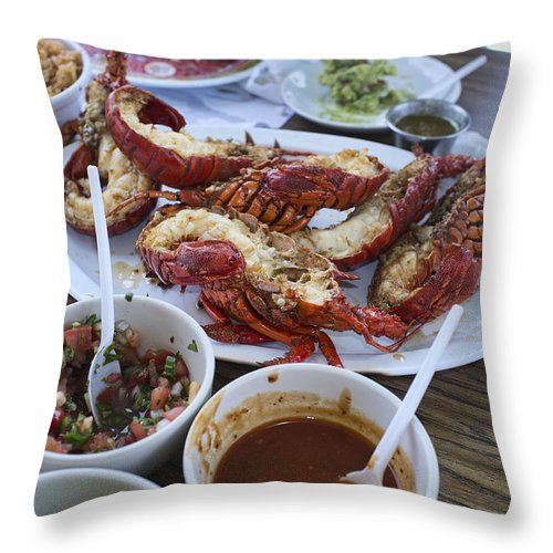 Puerto Nuveo Throw Pillow featuring the photograph Lobster Puerto Nuevo Style by Hugh Smith