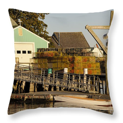 Boat Throw Pillow featuring the photograph Lobster Traps On Dock by John Shaw