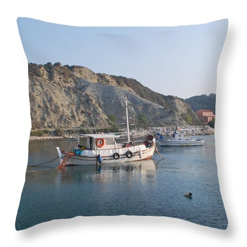 Seascape Throw Pillow featuring the photograph Local Fishing Boats by George Katechis