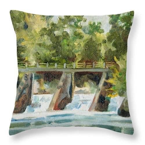 Landscape Throw Pillow featuring the painting Lock 2 Raceway by Sarah Lynch