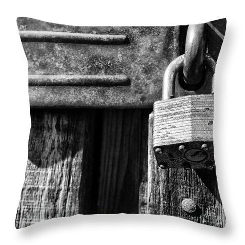 Hinge Throw Pillow featuring the photograph Lock And Latch by Thomas R Fletcher