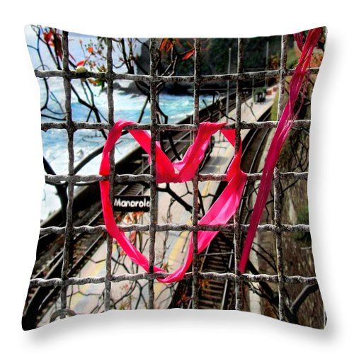 Manarola Throw Pillow featuring the photograph Lock And Love.cinque Terre.italy by Jennie Breeze