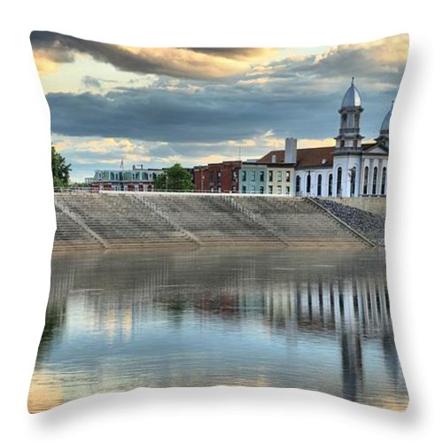 Lock Haven Court House Throw Pillow featuring the photograph Lock Haven In The Susquehanna by Adam Jewell