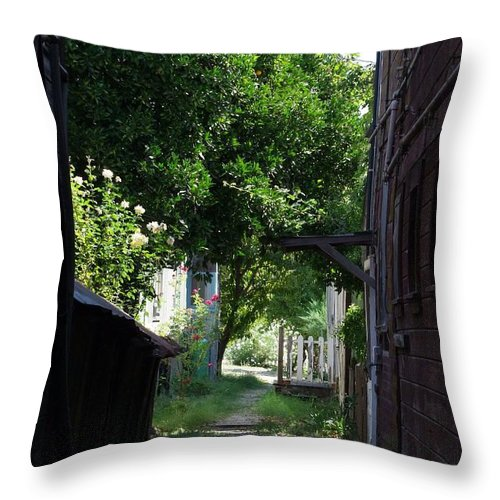 Green Throw Pillow featuring the photograph Locke Chinatown Series - Alley With Trees - 5 by Mary Deal