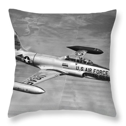 1 Object Throw Pillow featuring the photograph Lockheed T-33 Jet Trainer by Underwood Archives