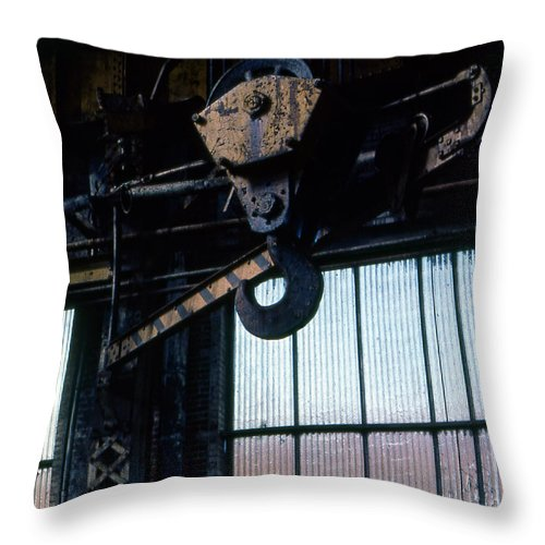Hooks Throw Pillow featuring the photograph Locomotive Hook by Richard Rizzo
