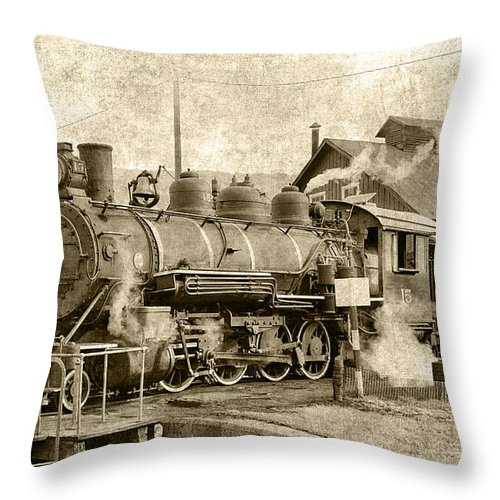 Steam Throw Pillow featuring the photograph Locomotive No. 15 In The Yard by Daniel Hagerman