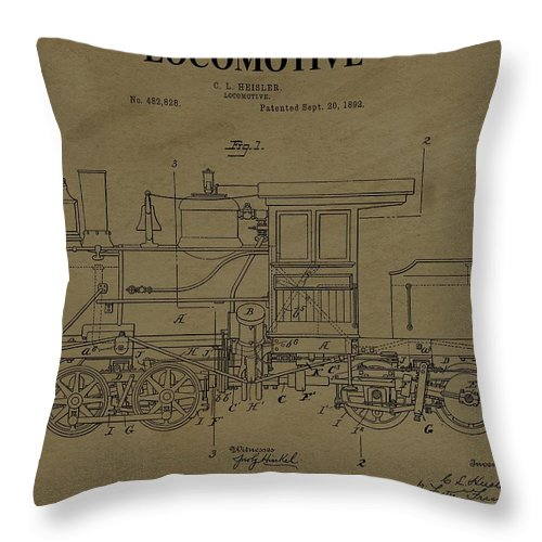 1892 Locomotive Patent Throw Pillow featuring the digital art Locomotive Patent Postcard by Dan Sproul