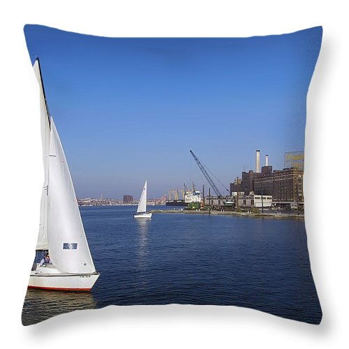 2d Throw Pillow featuring the photograph Locust Pt Sailing by Brian Wallace