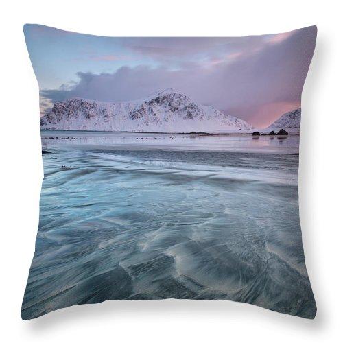 Scenics Throw Pillow featuring the photograph Lofoten Island Sunrise by Antonyspencer