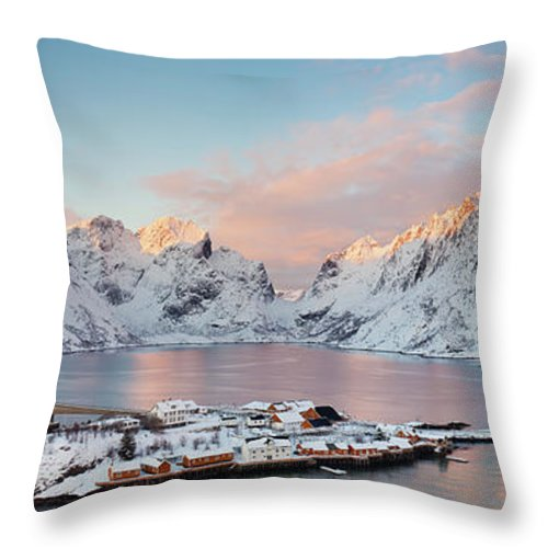 Tranquility Throw Pillow featuring the photograph Lofoten Islands Winter Panorama by Esen Tunar Photography