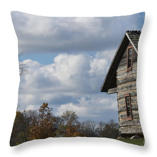 Log Cabin Throw Pillow featuring the photograph Log Cabin And November Sky by David Arment