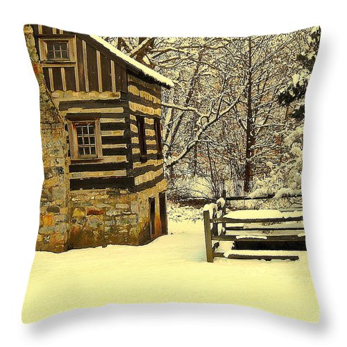 Log Cabin Throw Pillow featuring the photograph Log Cabin In The Snow by Tami Quigley