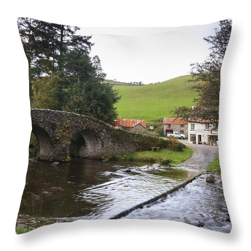 Malmsmead Throw Pillow featuring the photograph Loma Doone Farm Malmsmead by Chris Smith