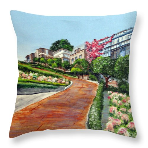 San Francisco Throw Pillow featuring the painting Lombard Street by Nancie Johnson