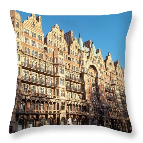 London Throw Pillow featuring the photograph London Apartments II by James Potts