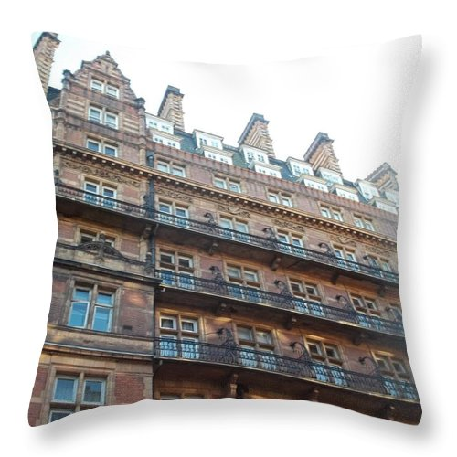 London Throw Pillow featuring the photograph London Apartments by James Potts