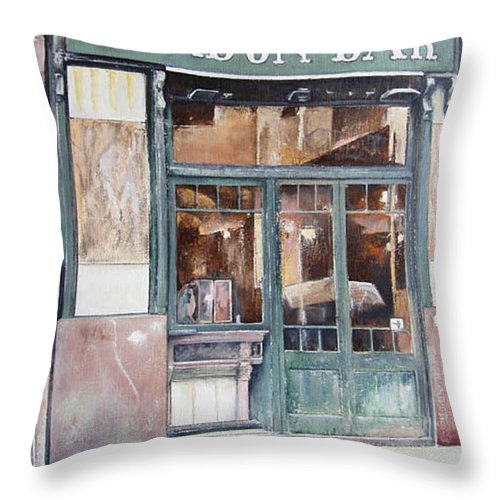 London Throw Pillow featuring the painting London bar-Barcelona by Tomas Castano